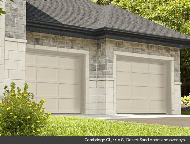 Cambridge CL Garaga garage door in Desert Sand with Desert Sand overlays
