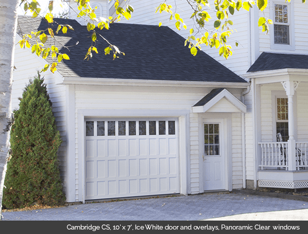Cambridge CS Garaga garage door in Ice White with overlays and Panoramic Clear windows