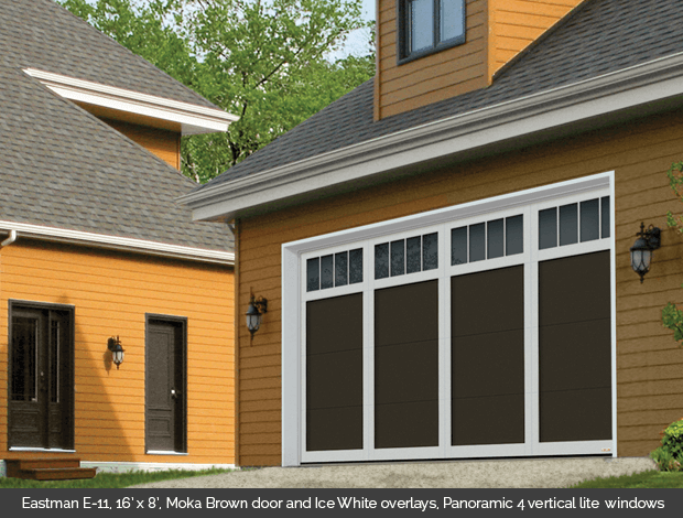 Eastman E-11 Moka Brown Garaga garage doors with Ice White overlays and Panoramic 4 vertical lite windows