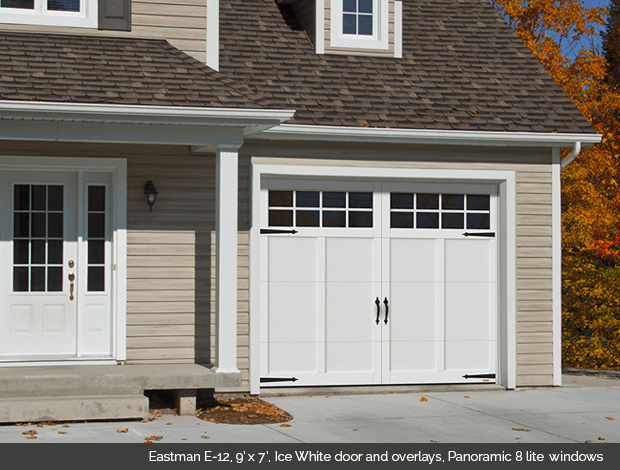 1E-12_9x7_IceWhite_Panoramic8lite & Townships Collection Garaga garage doors - Doorsmith Proud Supplier