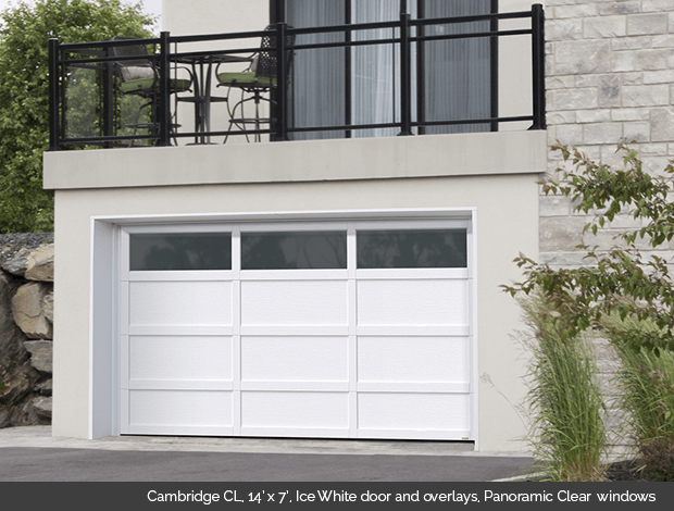 2CL_14x7_IceWhite_PanoramicClear. 3CL_16x7_Claystone_PanoramicClear. 4CL_16x7_IceWhite. 5CL_16x7_IceWhite_PanoramicClear & Townships Collection Garaga garage doors - Doorsmith Proud Supplier