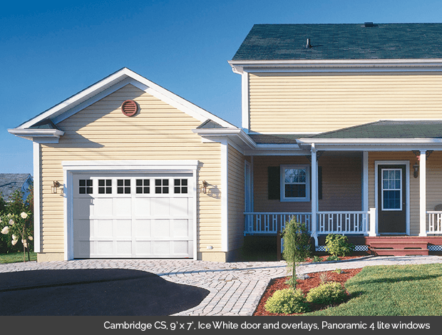 Cambridge CS Garaga garage door in Ice White with Panoramic 4 lite windows