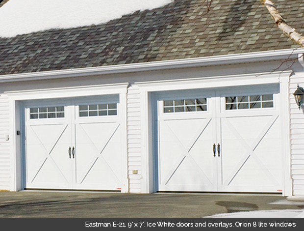 Eastman E 21 Garaga garage door in Ice White with Ice White Overlays and Orion 8 lite windows