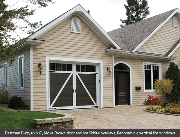 Eastman E 22 Garaga garage door in Moka Brown with Ice White Overlays and Panoramic 4 lite vertical windows