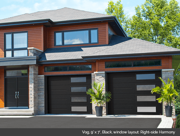 Vog Garaga garage door in Black with Right side Harmony windows