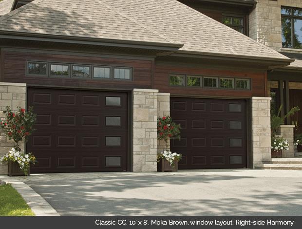 Classic CC Garaga garage door in Moka Brown with Right Side Harmony windows