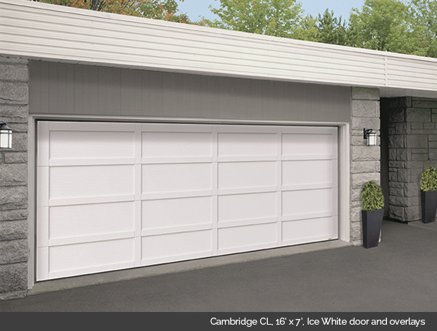 Cambridge CL Garaga garage door in Ice White with Ice White overlays