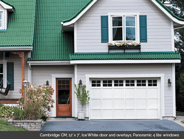 Cambridge CM Ice White Garaga garage door with ice white overlays and Panoramic 4 lite windows