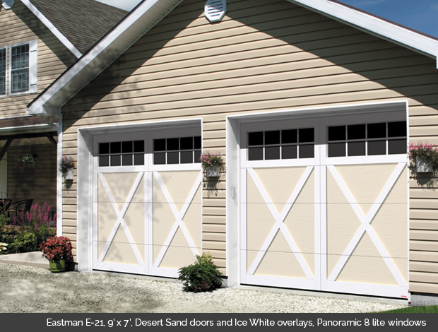 Eastman E 21 Garaga garage door in Desert Sand with Ice White Overlays and Panoramic 8 lite windows