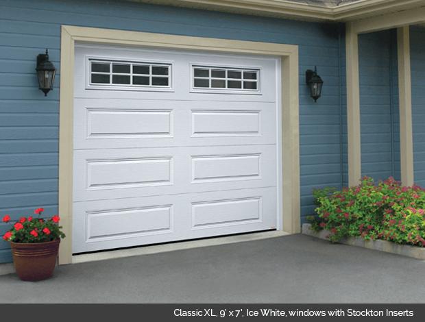 Classic XL Garaga Garage Door in Ice White with Stockton window inserts