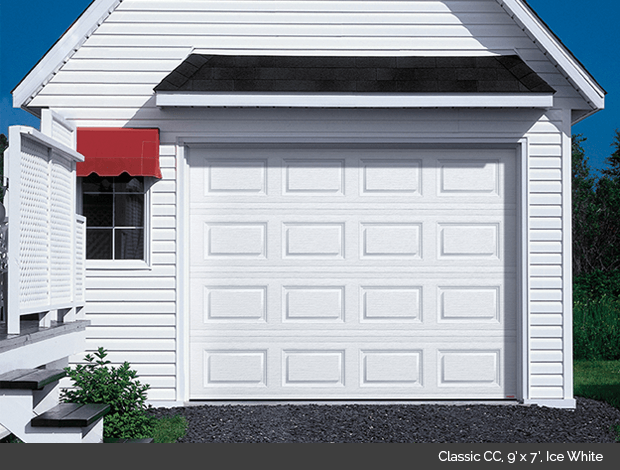 Classic CC in Ice White Garaga garage door