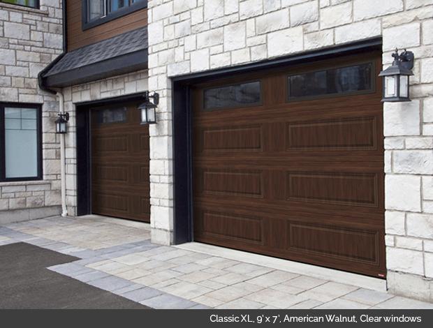 Classic XL Garaga garage door in American Walnut with clear windows
