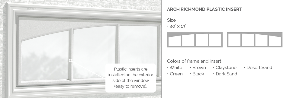 Arch Richmond Garaga garage door plastic window insert