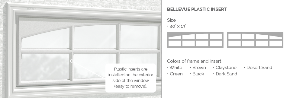 Bellevue Garaga garage door plastic window insert
