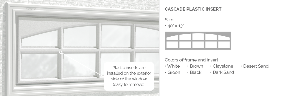 Cascade Garaga garage door plastic window insert