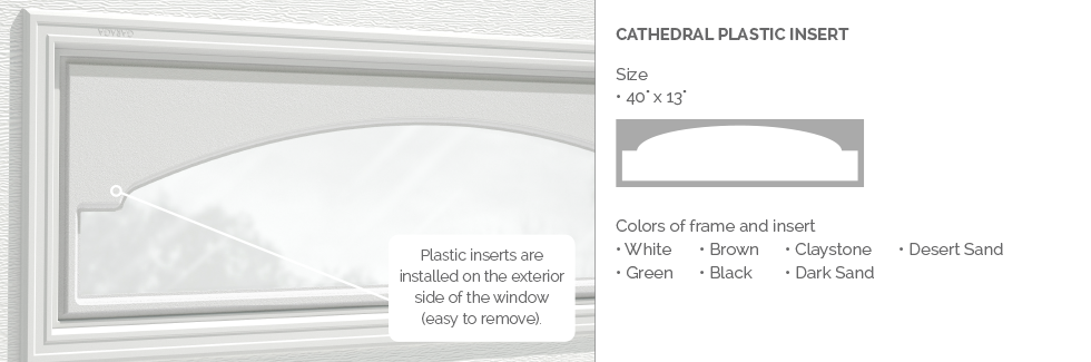 Cathedral Garaga garage door plastic window insert