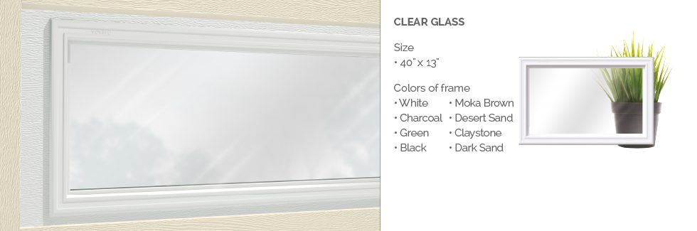 Clear Glass for Garaga garage door windows