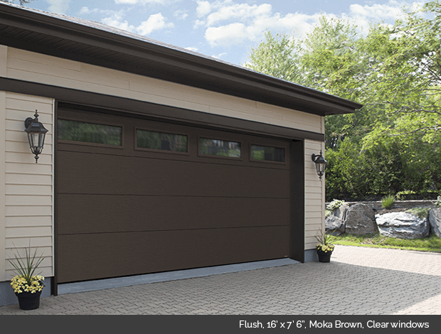 brown garage doors with windows. Flush Garaga Garage Door In Moka Brown With Clear Windows Doors