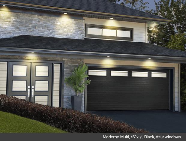 Moderno Multi Garaga garage door in Black with Azur windows