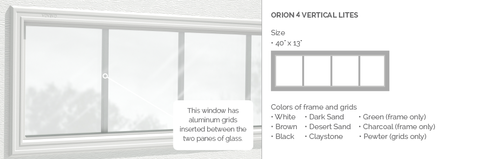 Orion 4 lites Garaga garage door aluminum window grids
