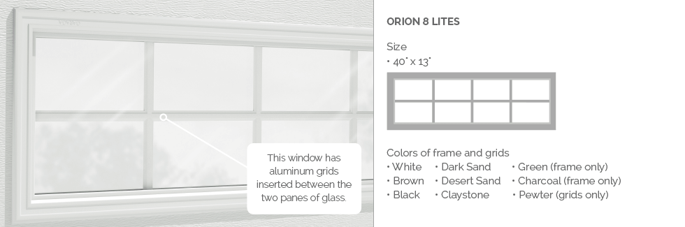 Orion 8 lites Garaga garage door aluminum window grids