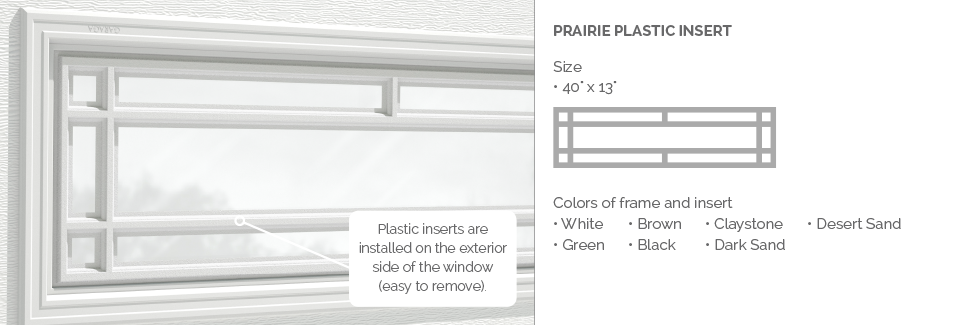 Prairie Garaga garage door plastic window insert
