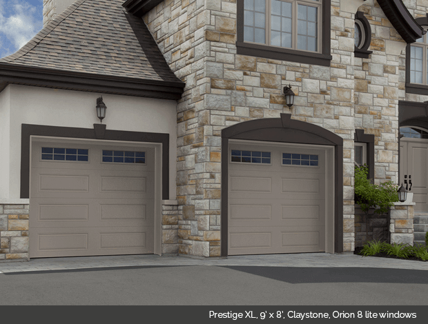 Prestige XL Garaga garage door in Claystone with Orion 8 lite windows