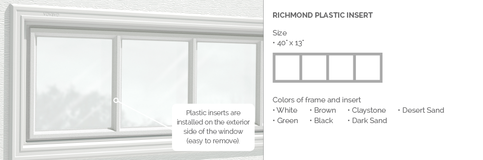 Richmond Garaga garage door plastic window insert
