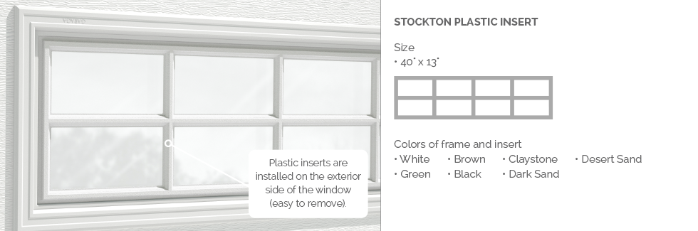 Stockton Garaga garage door plastic window insert