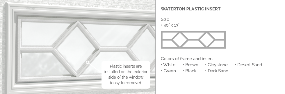 Waterton Garaga garage door plastic window insert