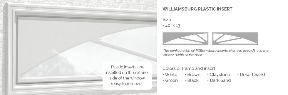 Williamsburg Plastic Insert for Garaga garage door windows