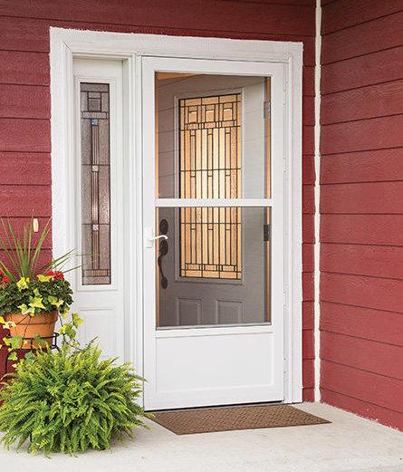 Partial view all metal door with steel bottom panel for Scenix porch windows